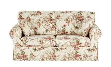 Sofa 2,5-sitzig mit Husse creme/rosa - Webstoff