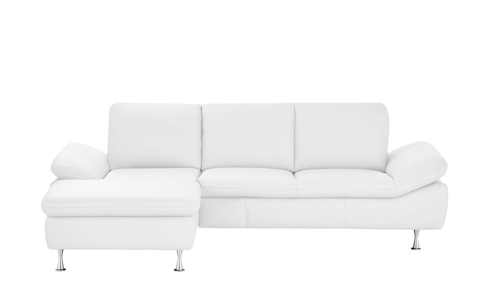 smart Ecksofa weiß - Leder Omega